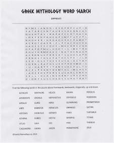4 Images of Mythology Word Search Printable