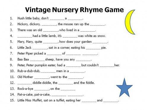 nursery rhyme game printable baby shower nursery rhyme game answers