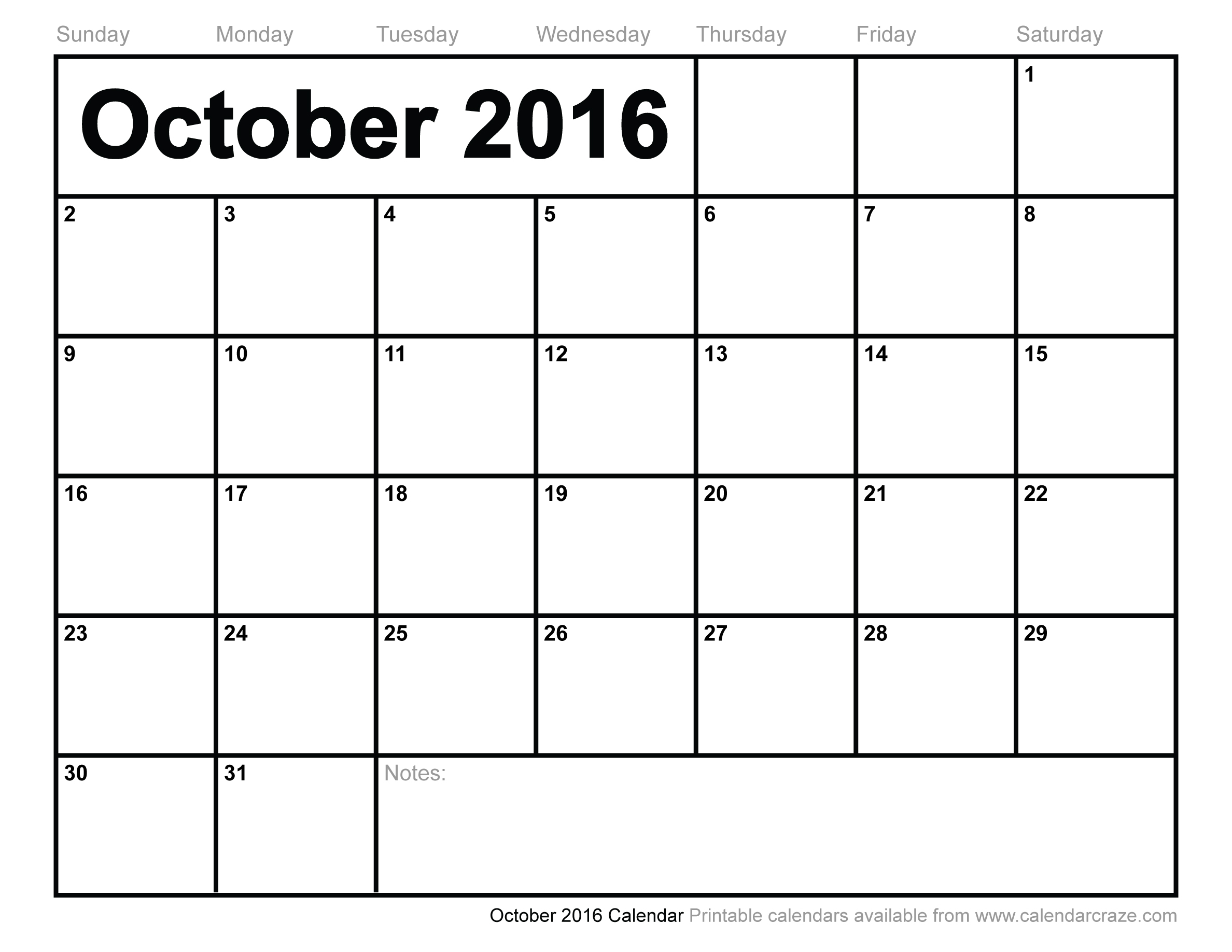 8 Images of Printable 2016 Monthly Calendar October