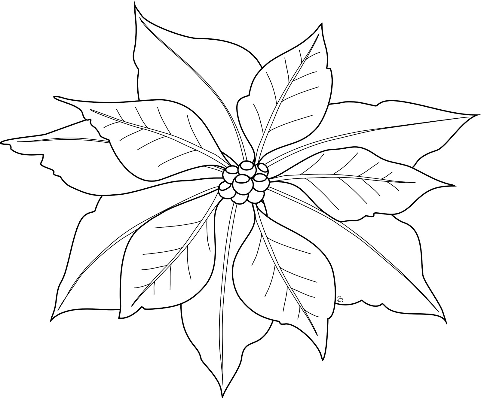 6 Images of Printable Poinsettia Coloring Page