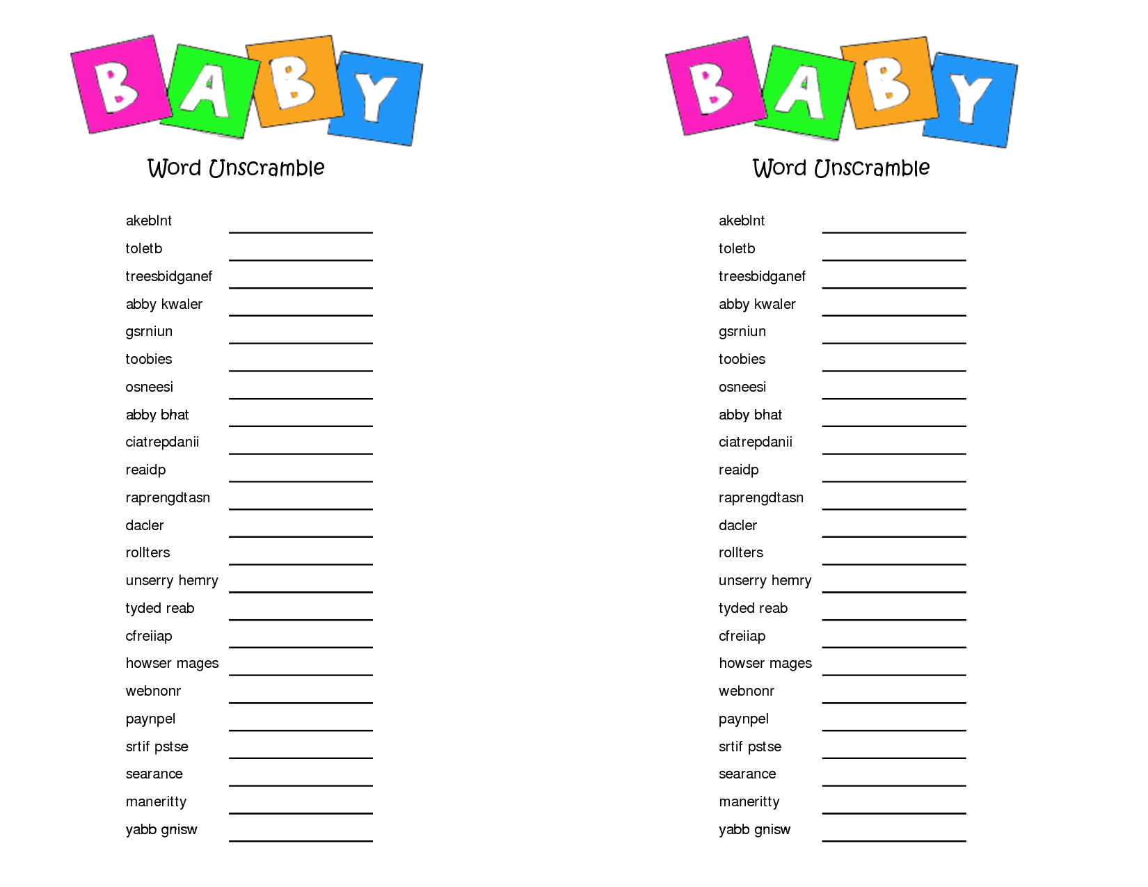 Worksheet Printable Scrambled Words 7 best images of printable baby shower unscramble game words