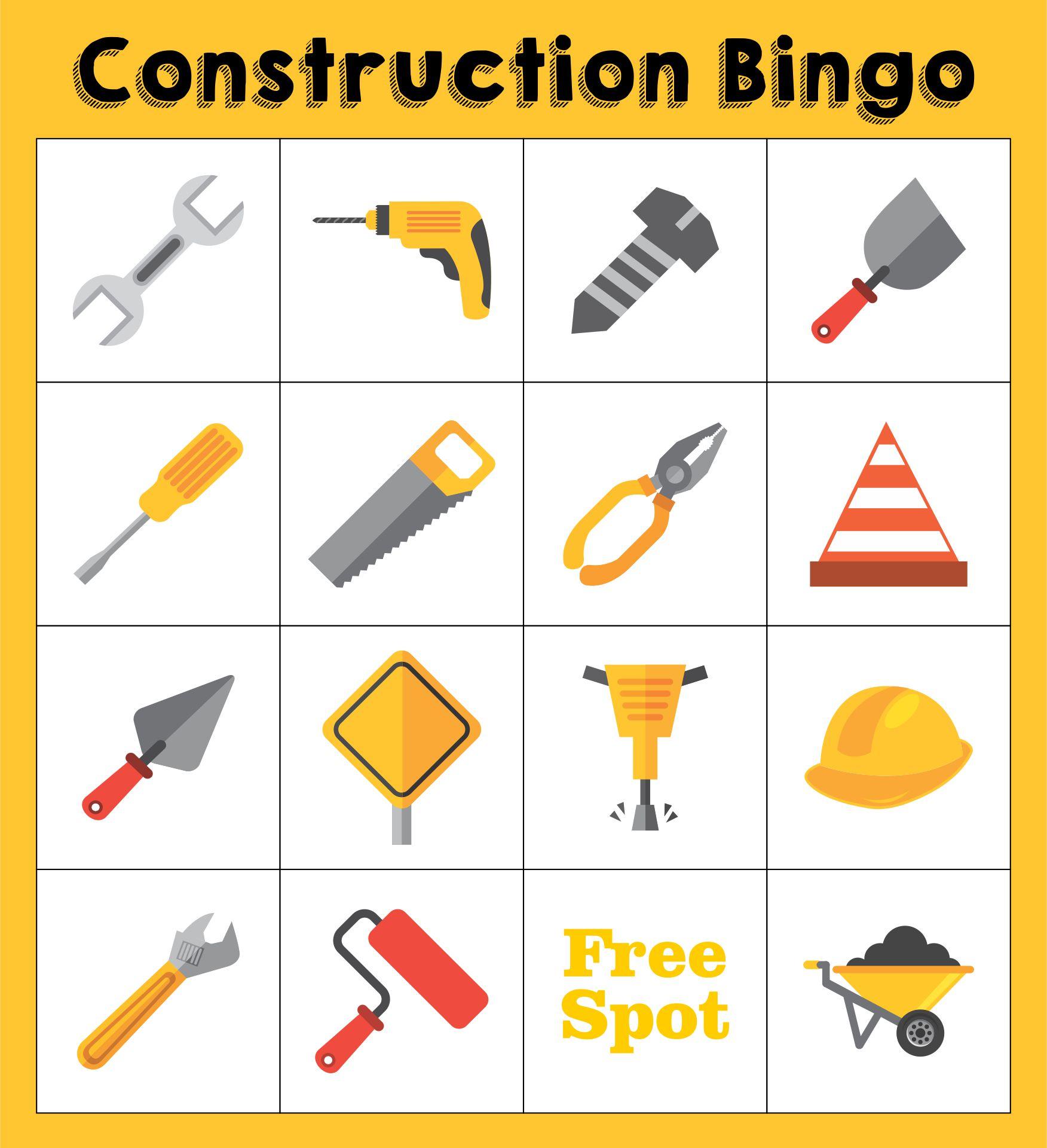 Printable Construction Bingo Games