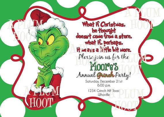 8 Images of Grinch Christmas Party Invitations Printable