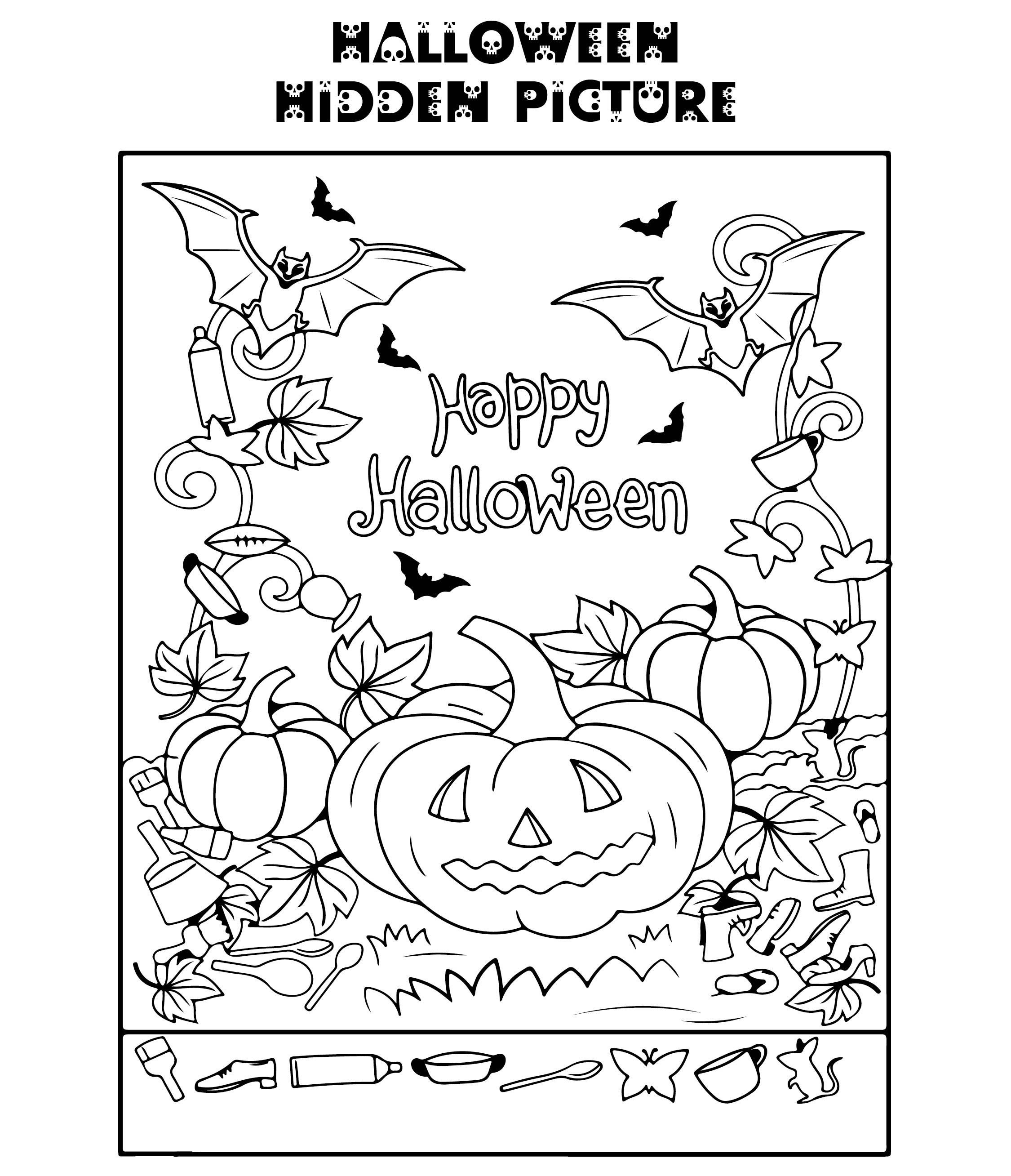 5 best images of halloween hidden picture printable