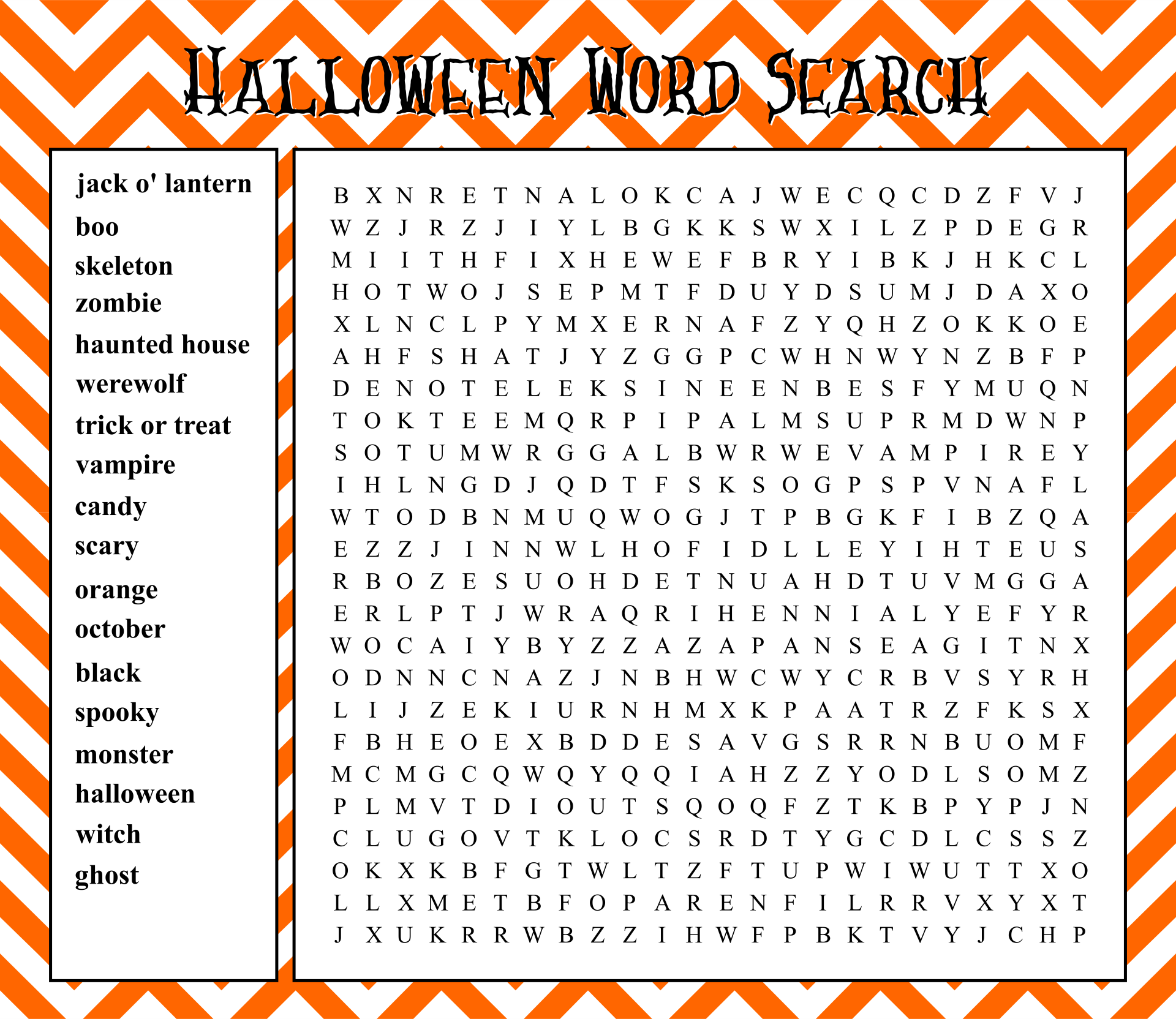 6 Images of Halloween Word Search Printable Large