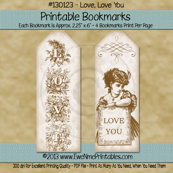 Printable Love Bookmarks