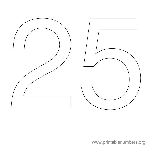 9 Images of Printable Number 25