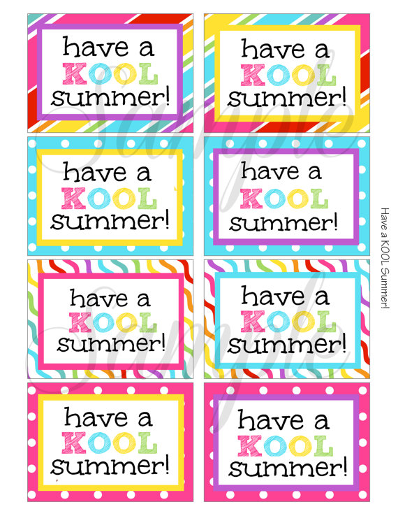 5 Images of Kool Summer Printable Tag
