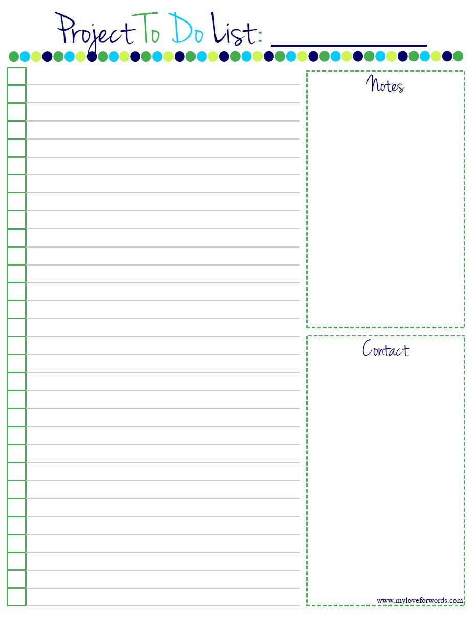 8 Images of Free Printable Project To Do List Template