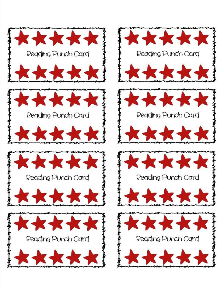 4 Images of Printable Reading Punch Cards