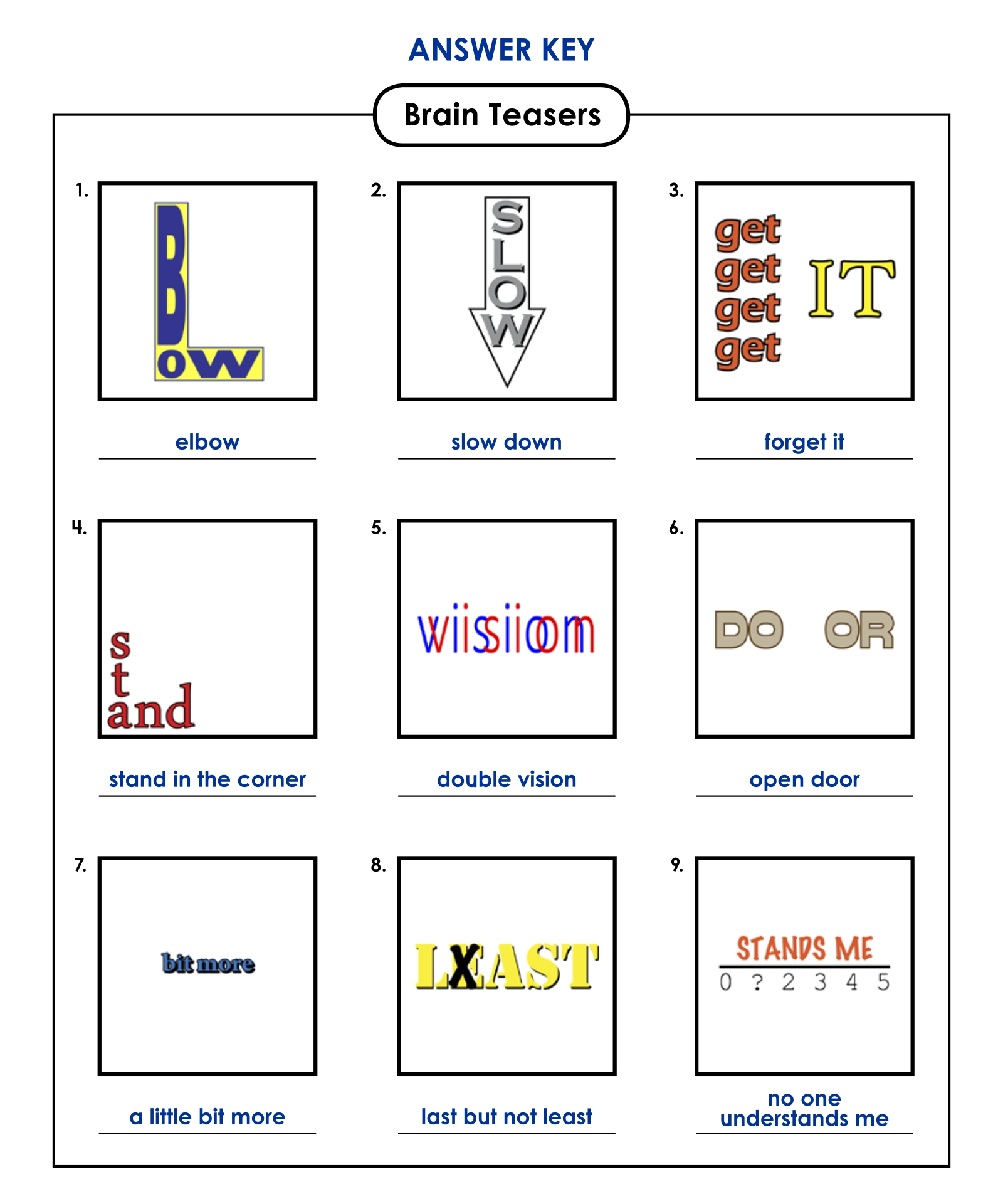 Rebus Puzzle Answers