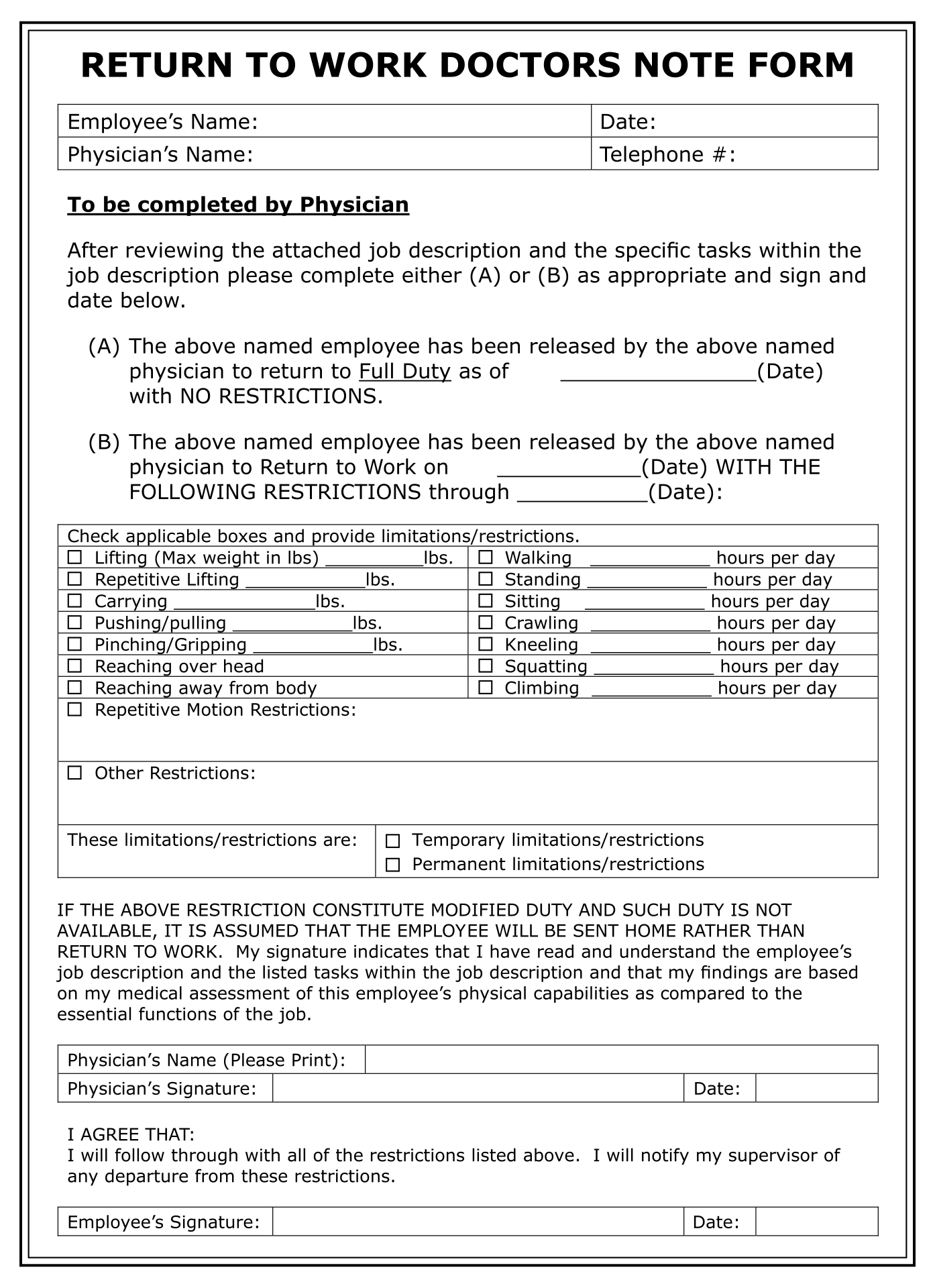 Return to Work Doctors Note Form