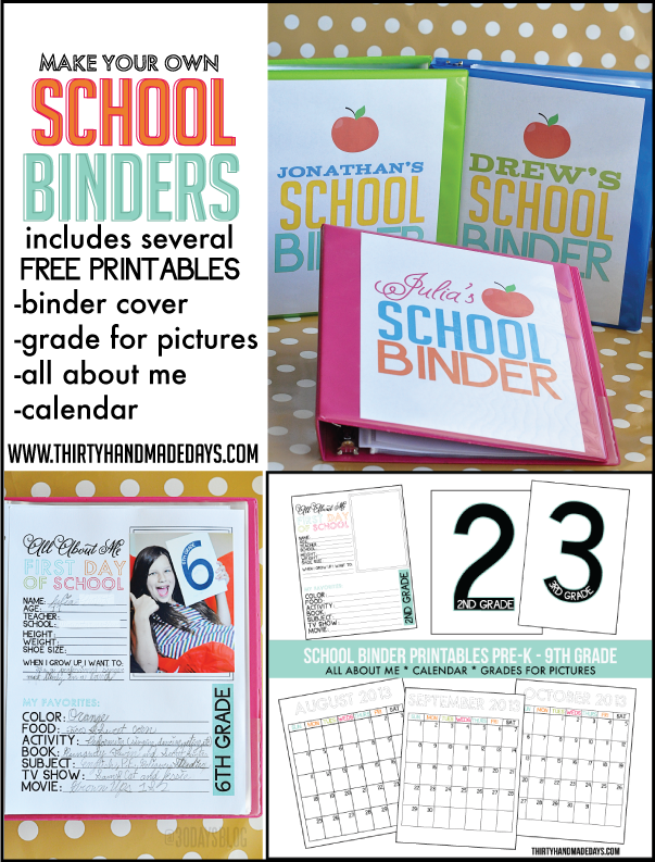 7 Images of Back To School Binder Free Printables