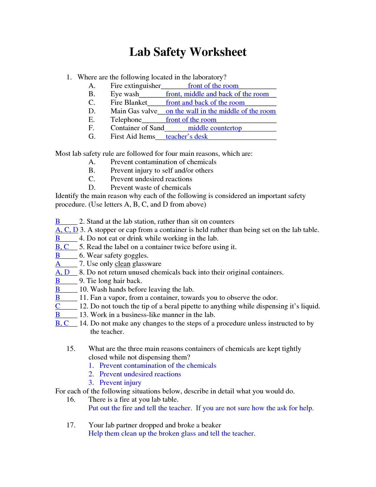 Best Images Of Printable Lab Worksheet Science Safety