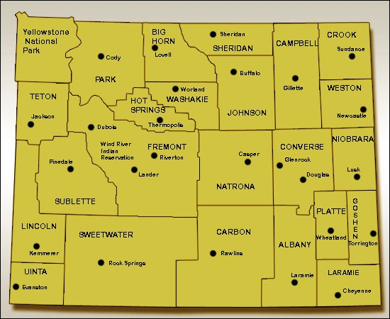 4 Images of Wyoming State Map Printable