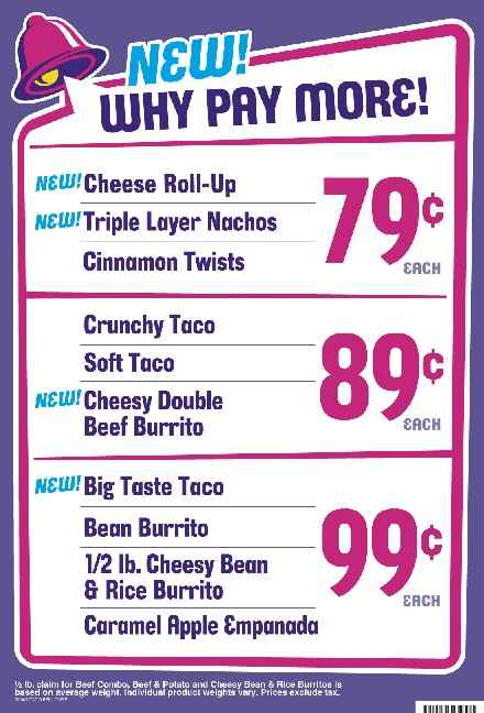 6 Images of Taco Bell Printable Menu With Prices