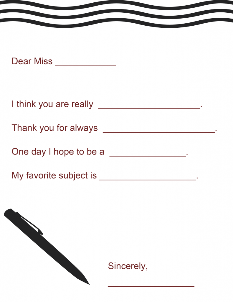 7 Images of A Note From Your Teacher Printable