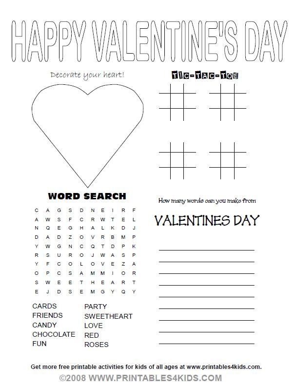 number names worksheets free printable kids activity sheets 5 best images of printable valentine activity - Free Activity Sheets For Kids