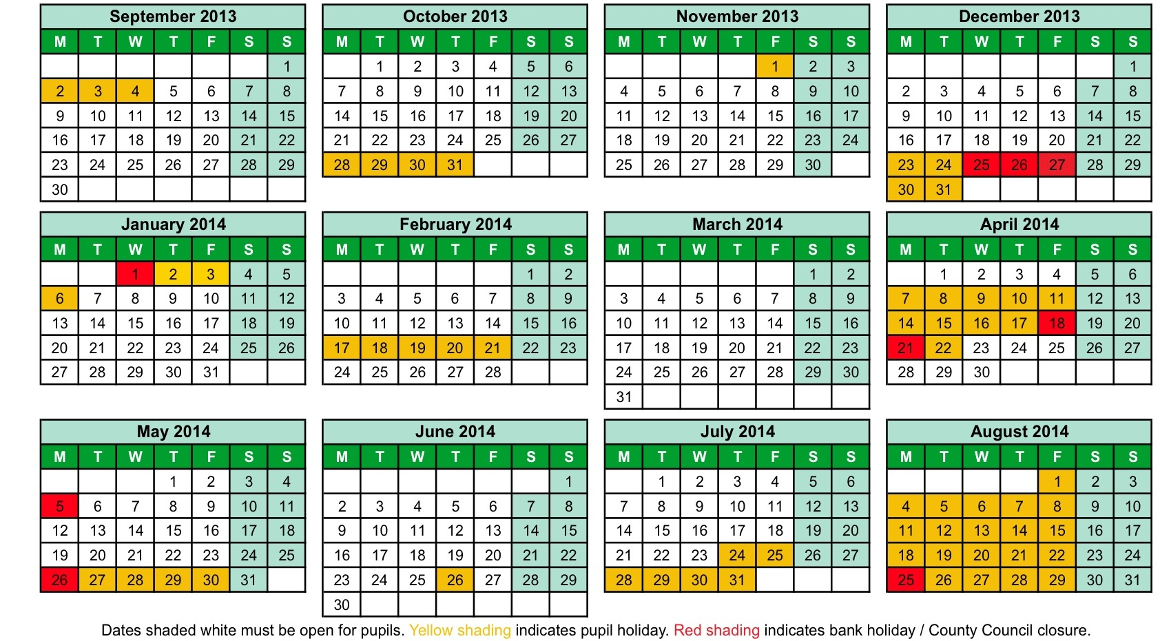 8 Images of Printable 2013 14 School Calendar