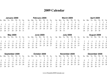 4 Images of 2009 Calendar Printable One Page
