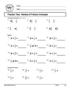 5th Grade Math Pretest Printable - Worksheets for Kids, Teachers ...