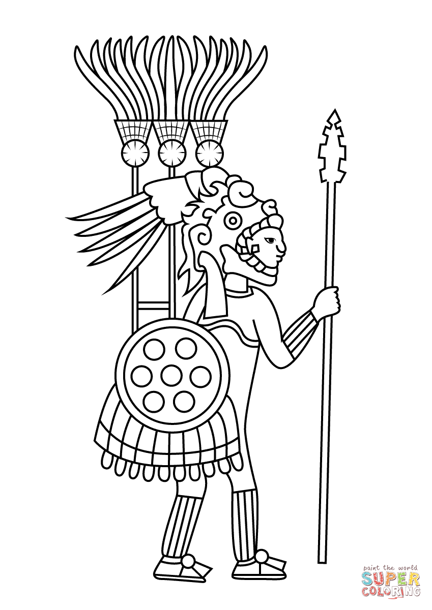 8 best images of aztec coloring pages printable aztec for Aztec sun coloring page