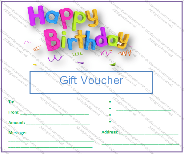 ... Free, Birthday Certificate Gift Voucher Template Free and Birthday