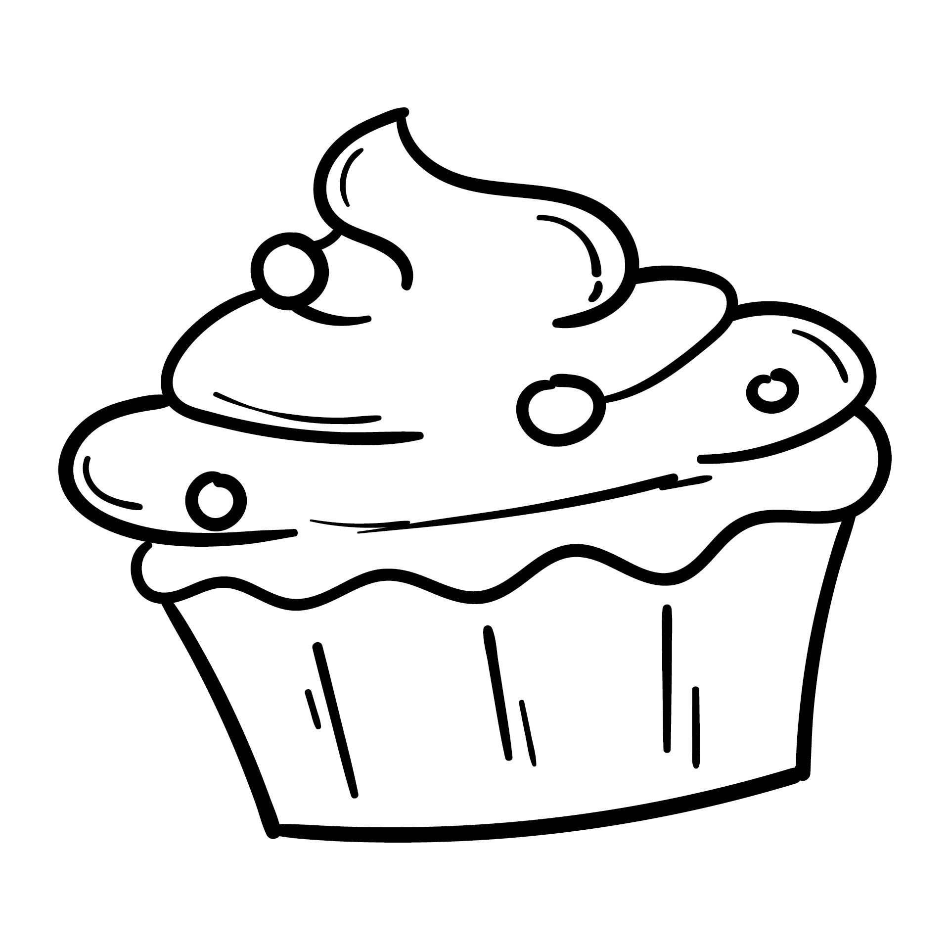 Black and White Cupcake Outline Clip Art