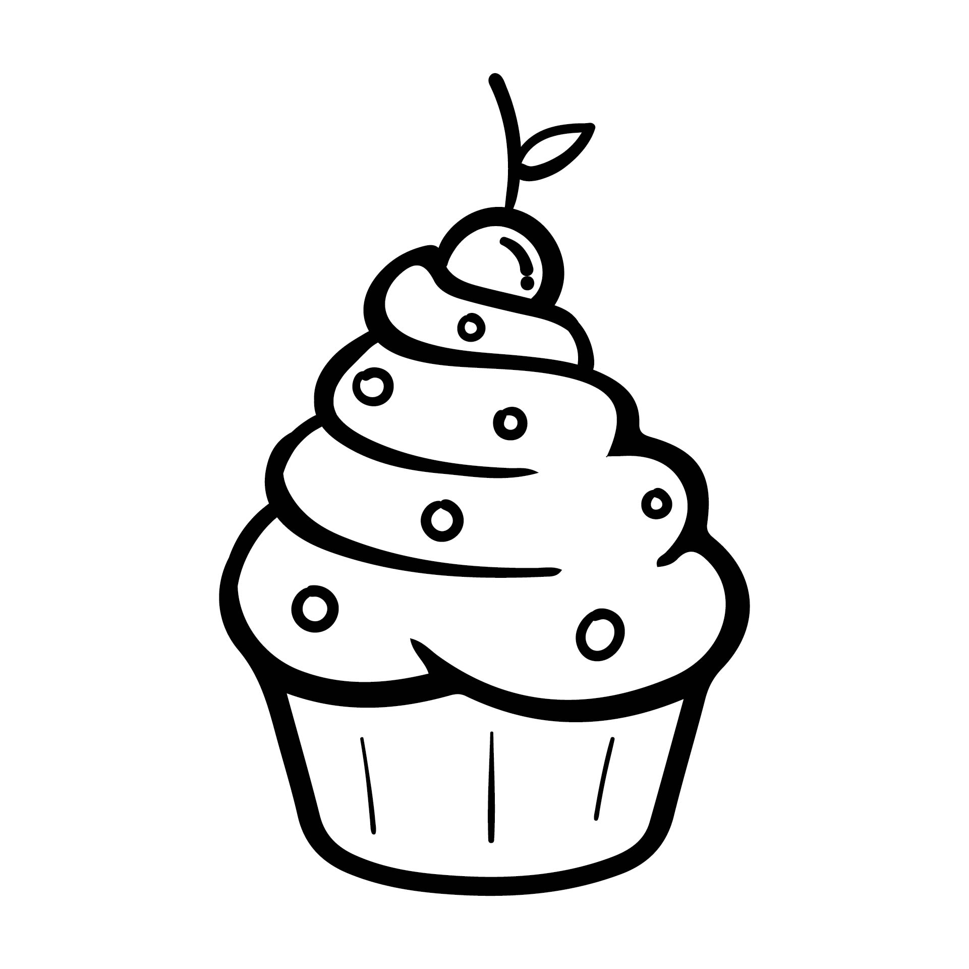 Black and White Cupcake Outline