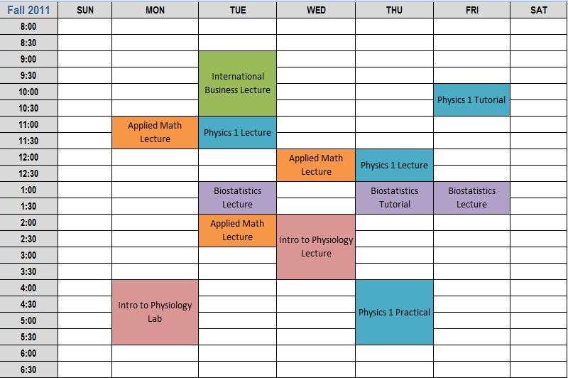 college school schedule template 7 best images of printable class schedule maker class