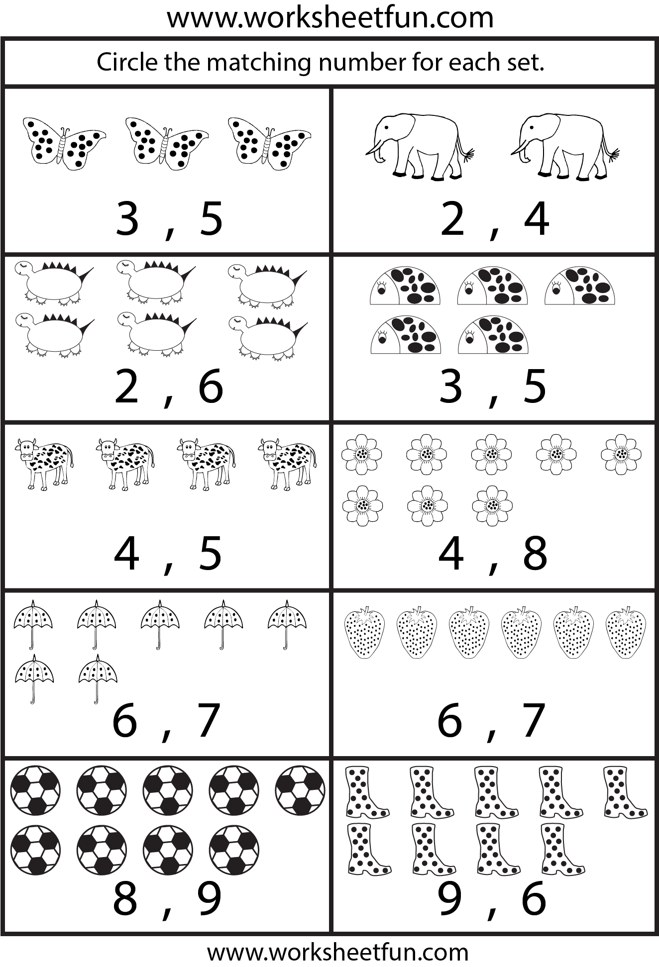 6 Images of Kindergarten Printable Counting 1 10 Worksheets