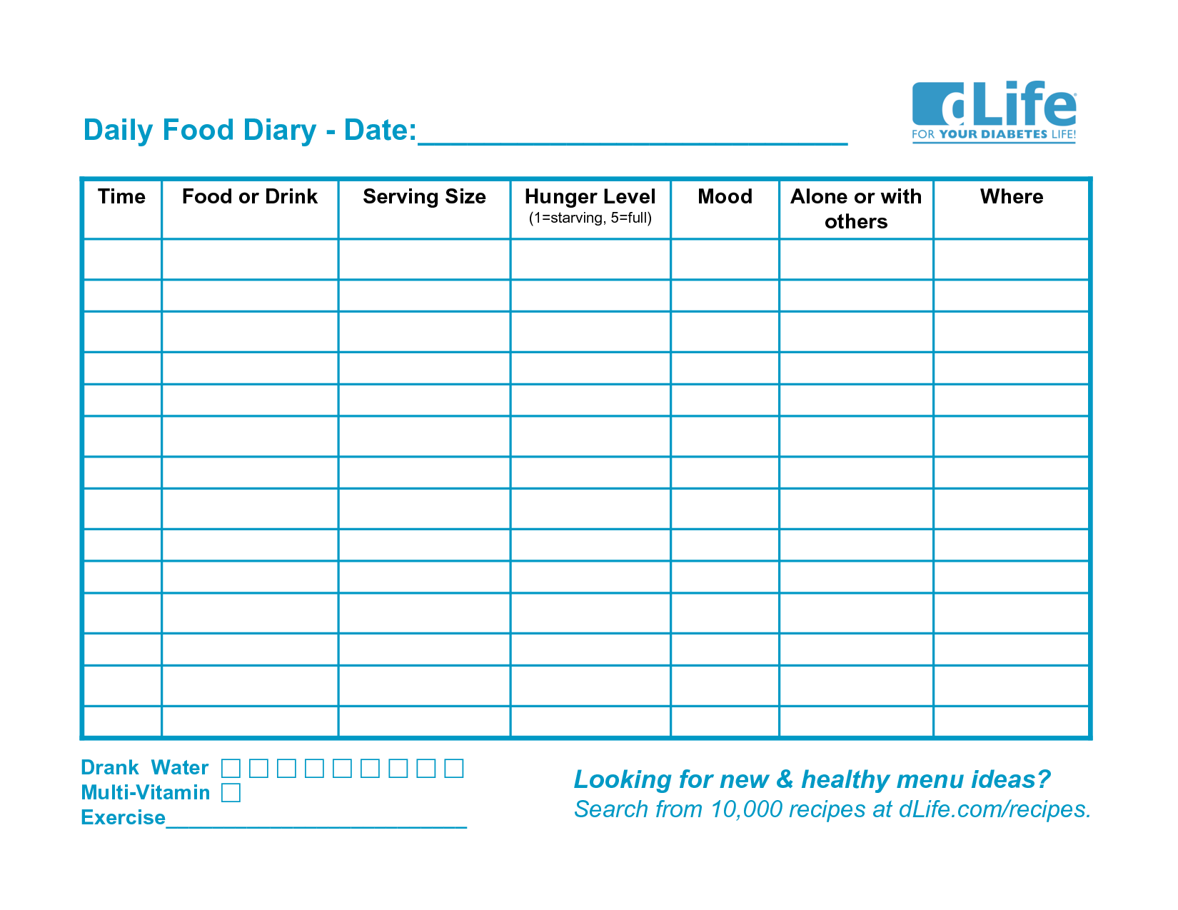 6 best images of food diary template printable pdf daily for Food diaries templates