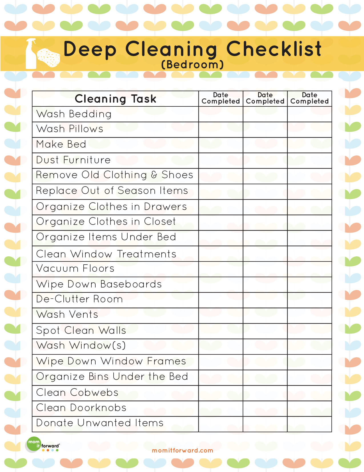8 Images of Room Cleaning Checklist Printable