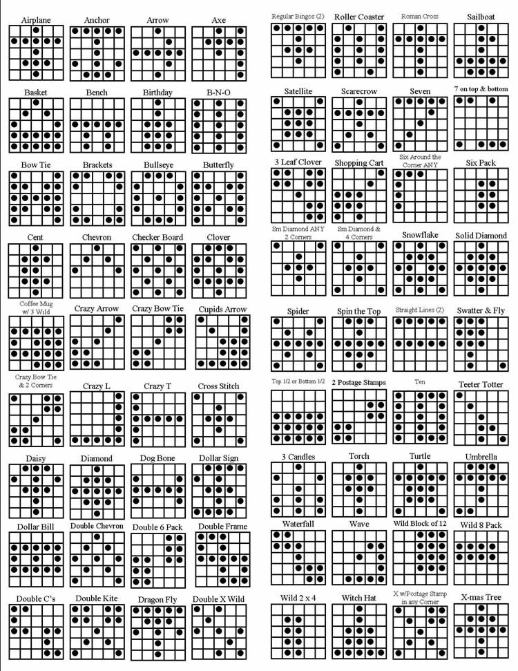 4 Images of Printable Bingo Patterns