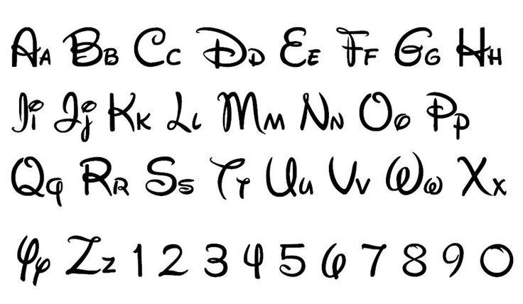 Disney style writing alphabet worksheets