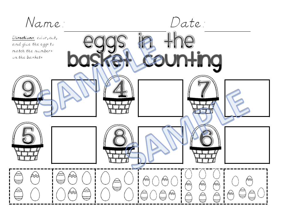 Easter Egg Math Kindergarten Worksheets