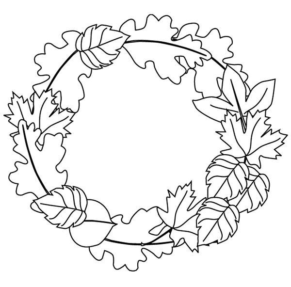7 Images of Autumn Wreath Printable Coloring Sheets