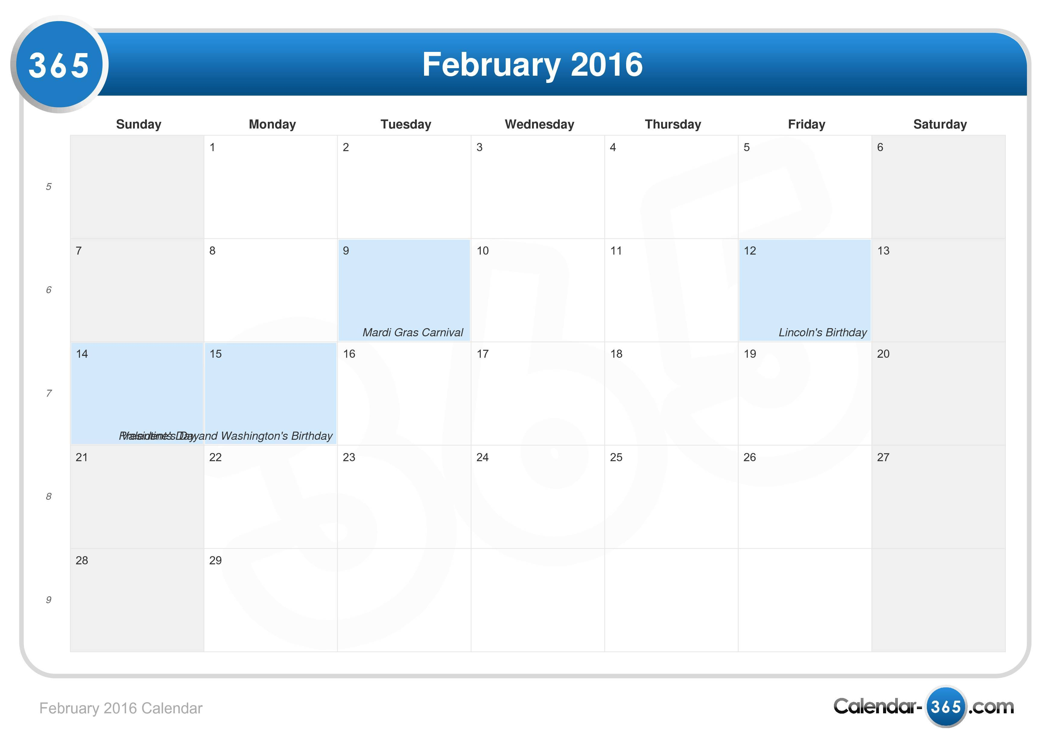 5 Images of Cute February 2016 Calendar With Holidays Printable