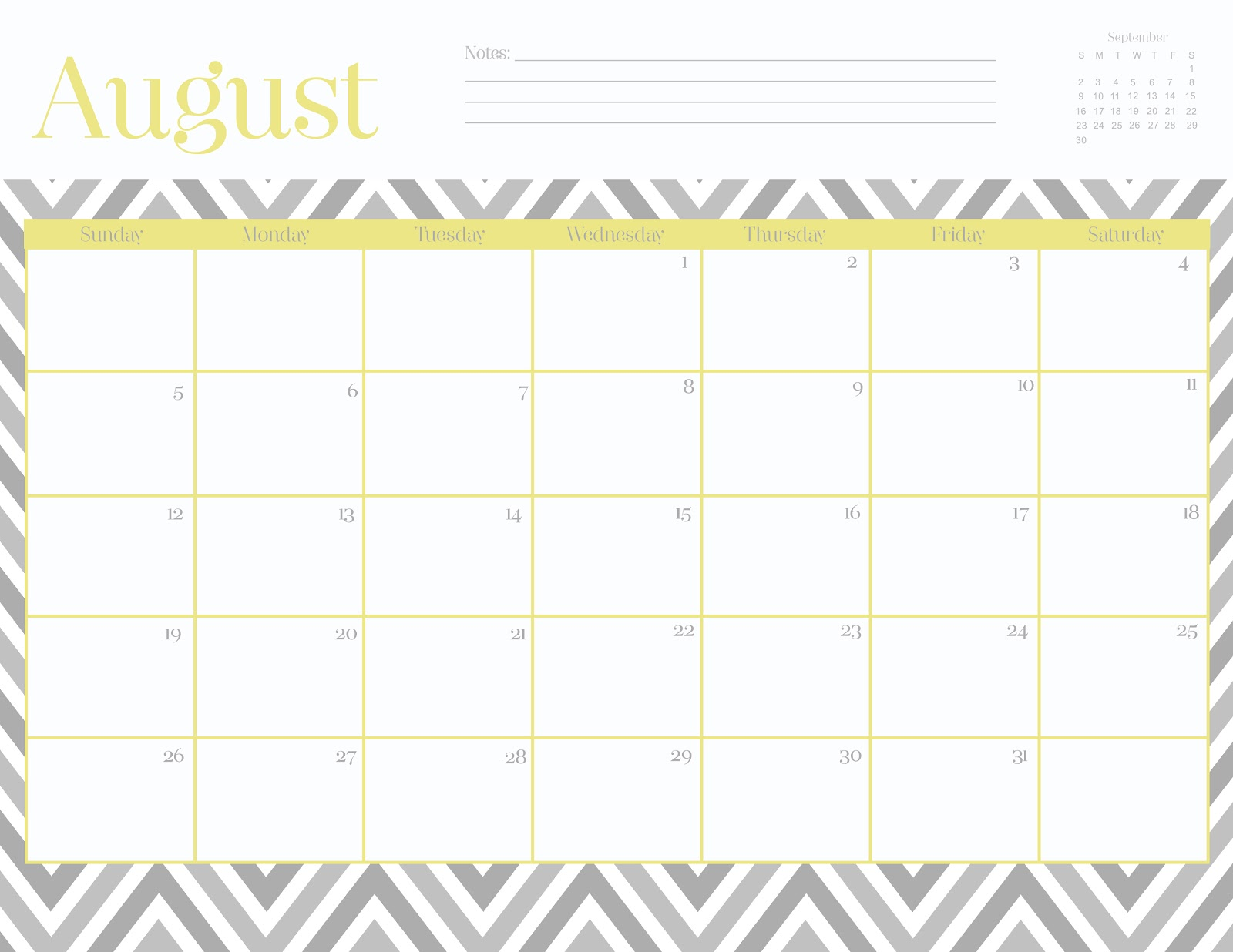 6 Images of Free Printable Chevron Calendar August 2015