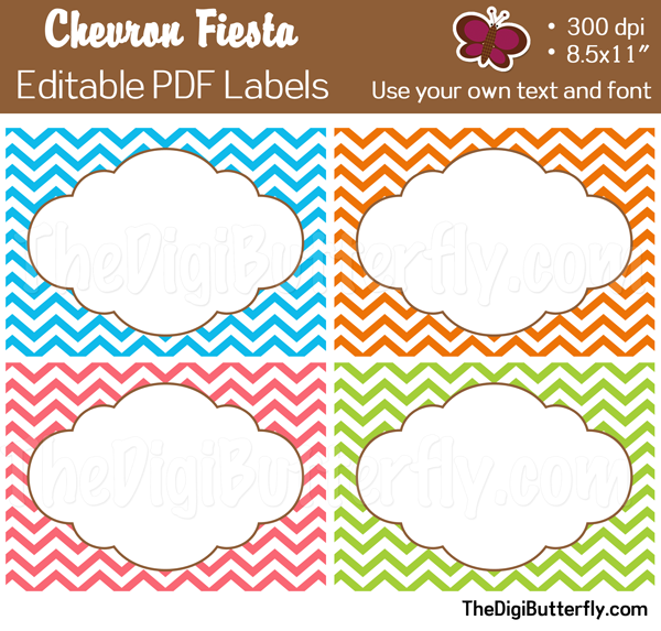 5 Images of Free Printable Editable Labels Chevron