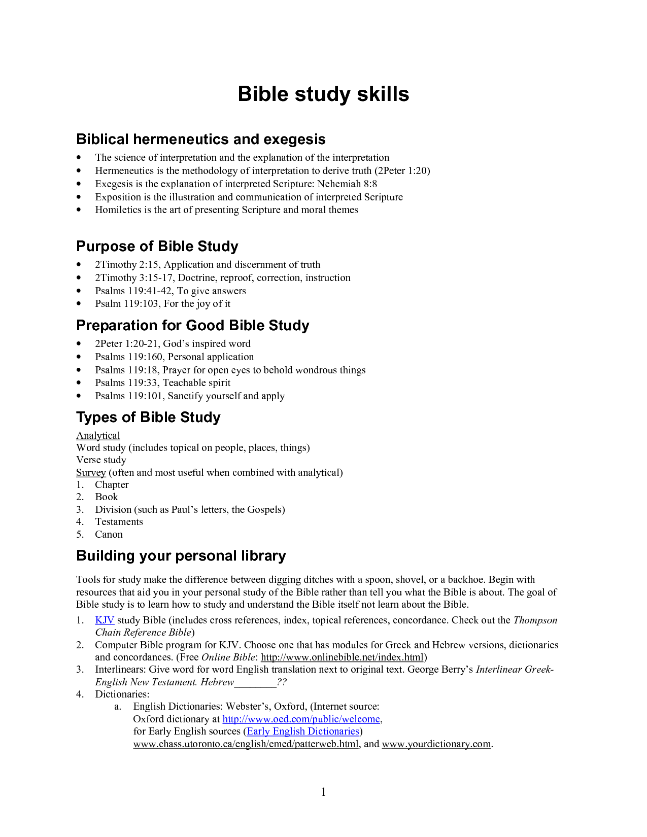 Bible study worksheets free