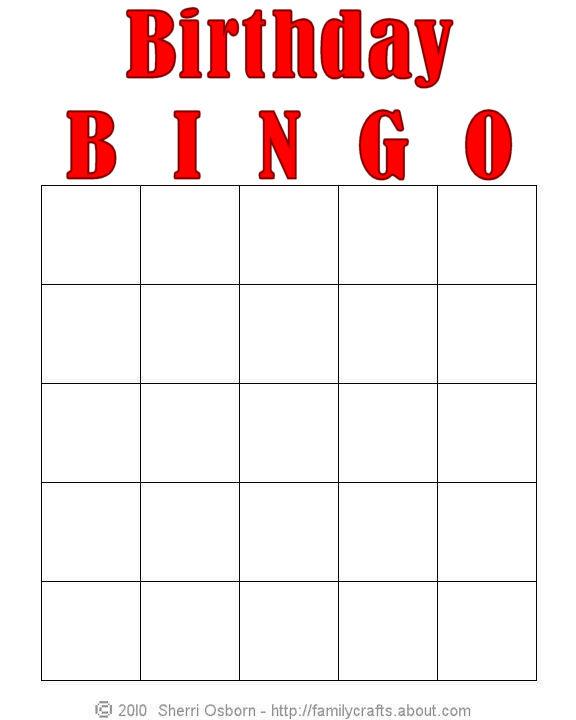 5 Images of Free Printable Birthday Bingo Templates