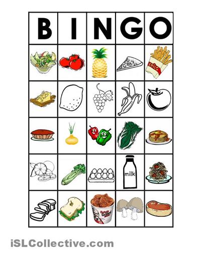 5 Best Images Of Food Bingo Game Printable Free