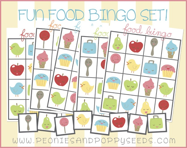 5 Images of Food Bingo Game Printable