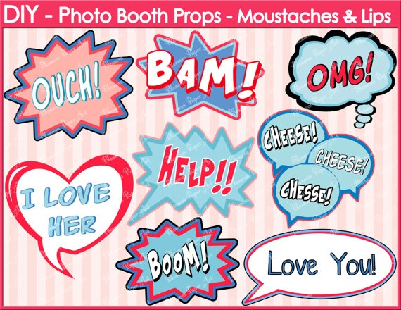 8 best images of diy photo booth printables free for Photo booth speech bubble template
