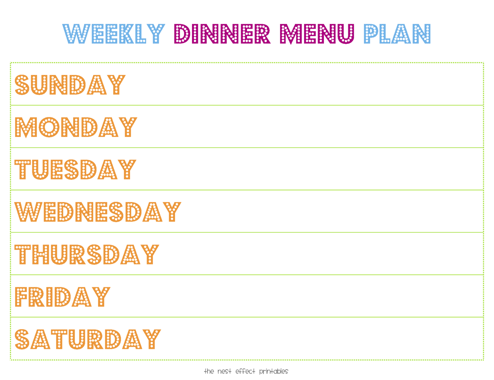 8 Images of Weekly Dinner Menu Planner Printable