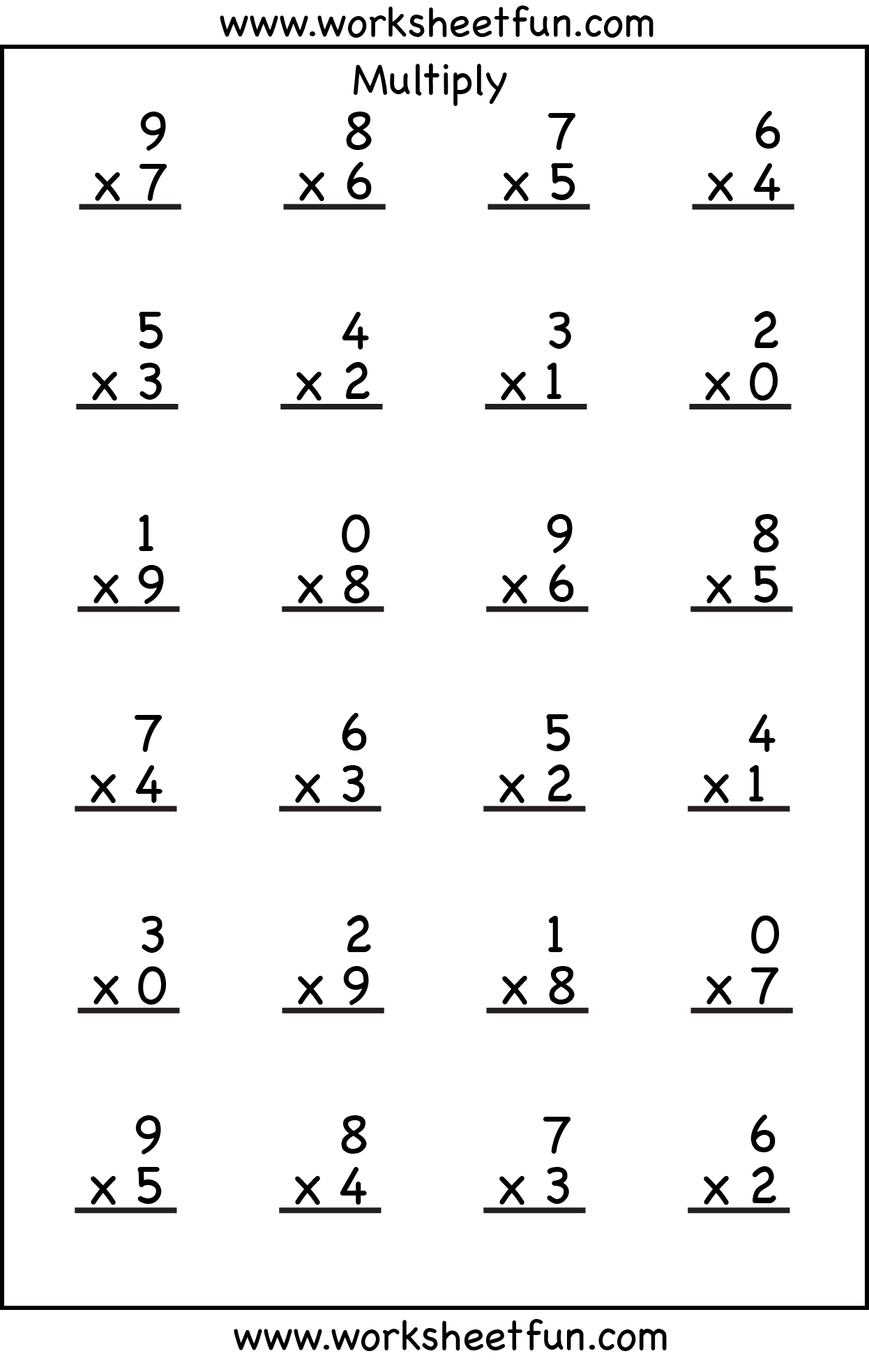 math worksheet : 5 best images of printable multiplication worksheets 4 s  4  : Two Digit By One Digit Multiplication Worksheet