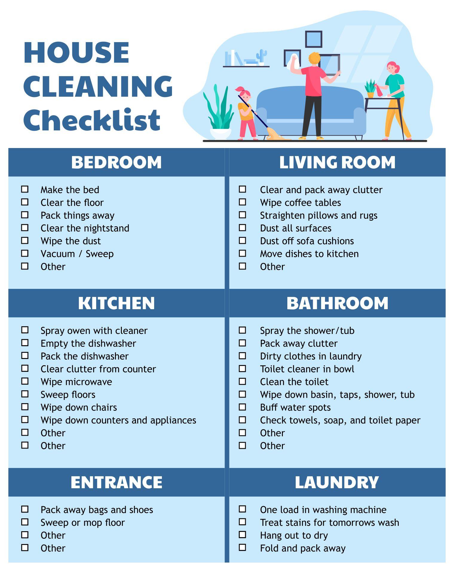 10 Best Housekeeping Cleaning Checklist Printable Printablee Com