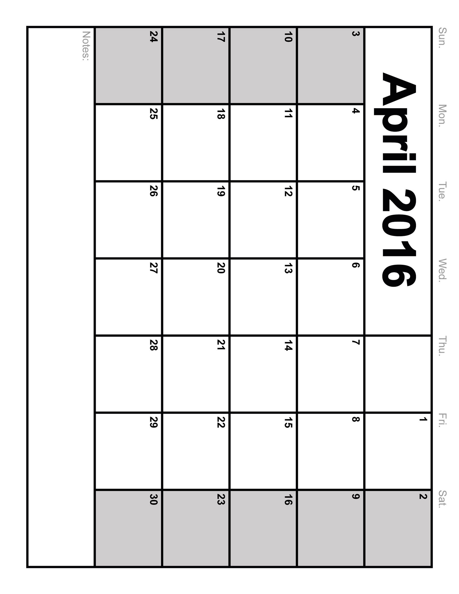 5 Images of 2016 Calendar Printable April