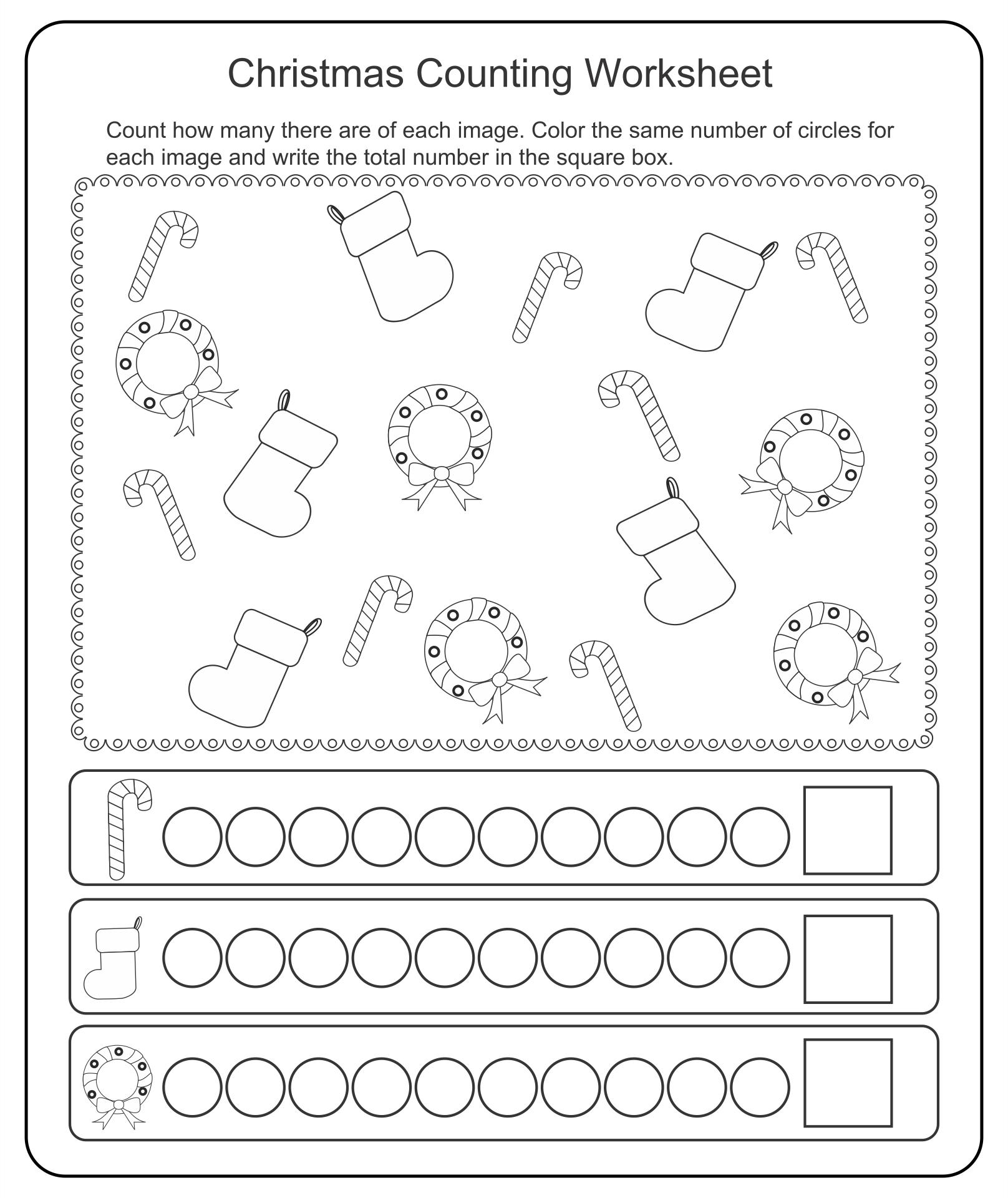 Kindergarten Christmas Worksheets Printables